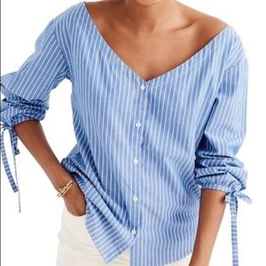 Madewell Blue Pinstriped Button Up 3/4 Sleeve